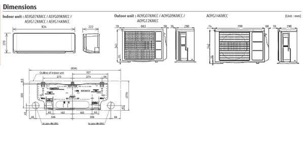 Fujitsu Air conditioning ASYG14KMCC Wall Mounted Heat pump A++ R32 4Kw/14000Btu Install kit